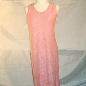 Vintage pink & white sleeveless floor length dress